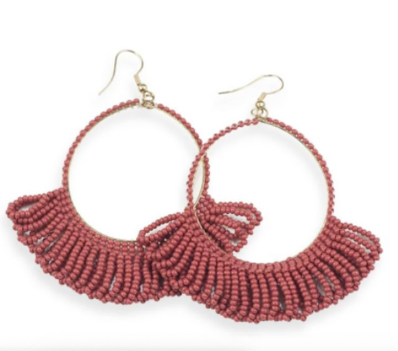 Ink + Alloy - Fringe Hoop Earring - Terra Cotta