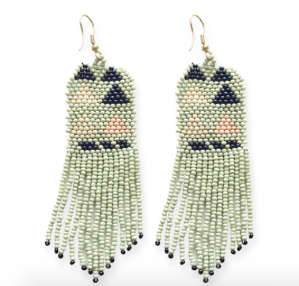 Load image into Gallery viewer, Ink + Alloy - Triangle Seed Bead Earrings - Mint/Navy/Pink