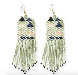Ink + Alloy - Triangle Seed Bead Earrings - Mint/Navy/Pink