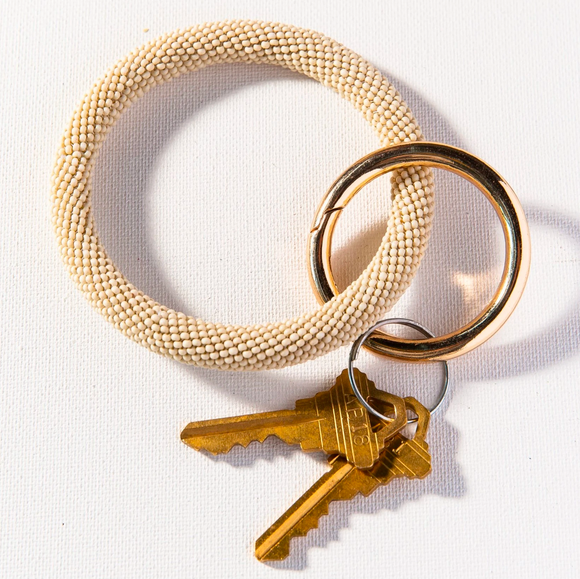 Ink + Alloy - Seed Bead Key Ring in Ivory