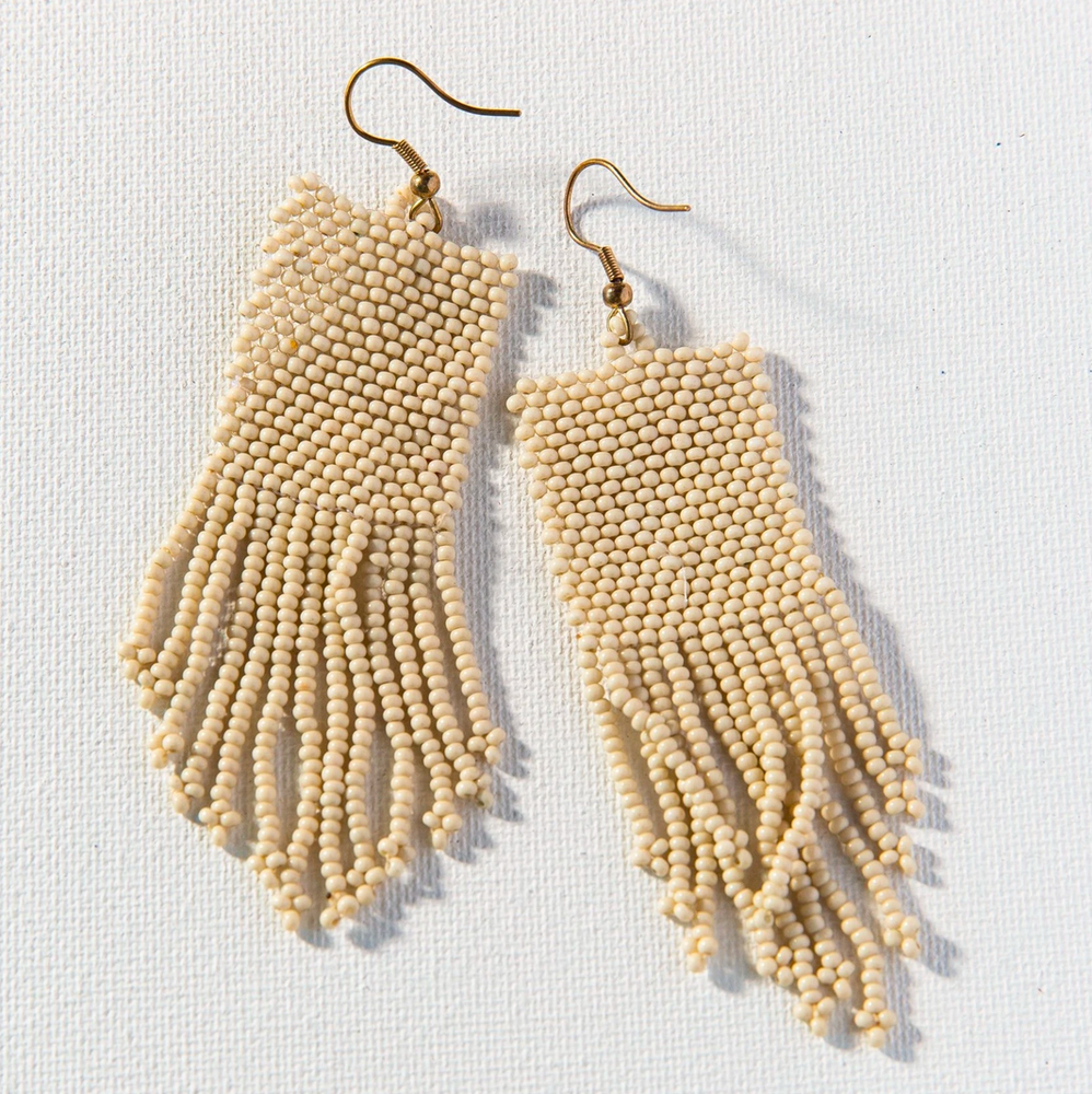 Ink + Alloy - Seed Bead Earring - Ivory