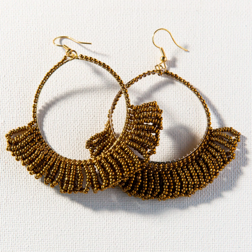 Ink + Alloy - Fringe Hoop Seed Bead Earring - Gold