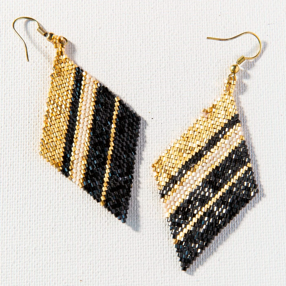 Ink + Alloy - Diamond Luxe Earring - Black + Gold + Ivory