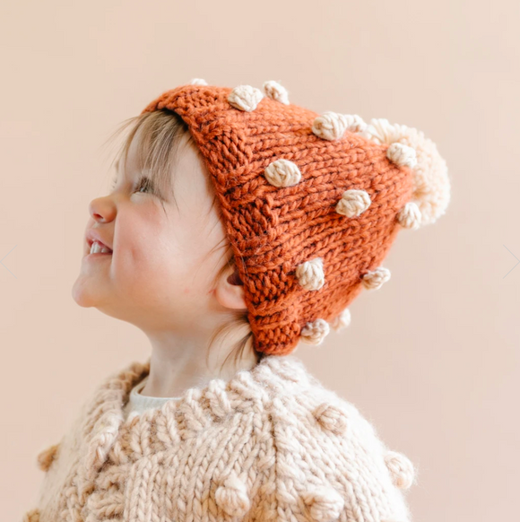 Popcorn Knit Hat - Cinnamon