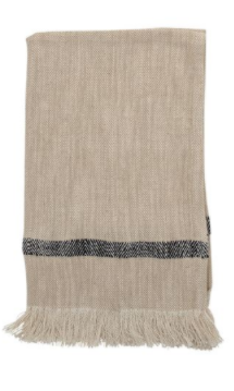 Woven Cotton Striped Tea Towel with Fringe