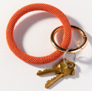 Load image into Gallery viewer, Ink + Alloy - Seed Bead Key Ring in Coral