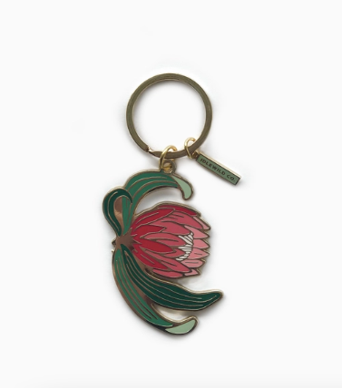 Load image into Gallery viewer, Protea Enamel Keychain