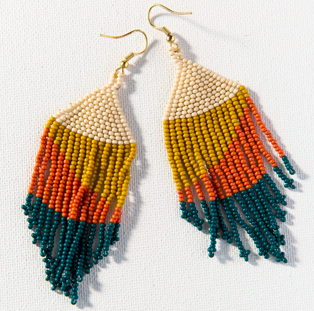 Ink + Alloy - Fringe Earrings - Peacock