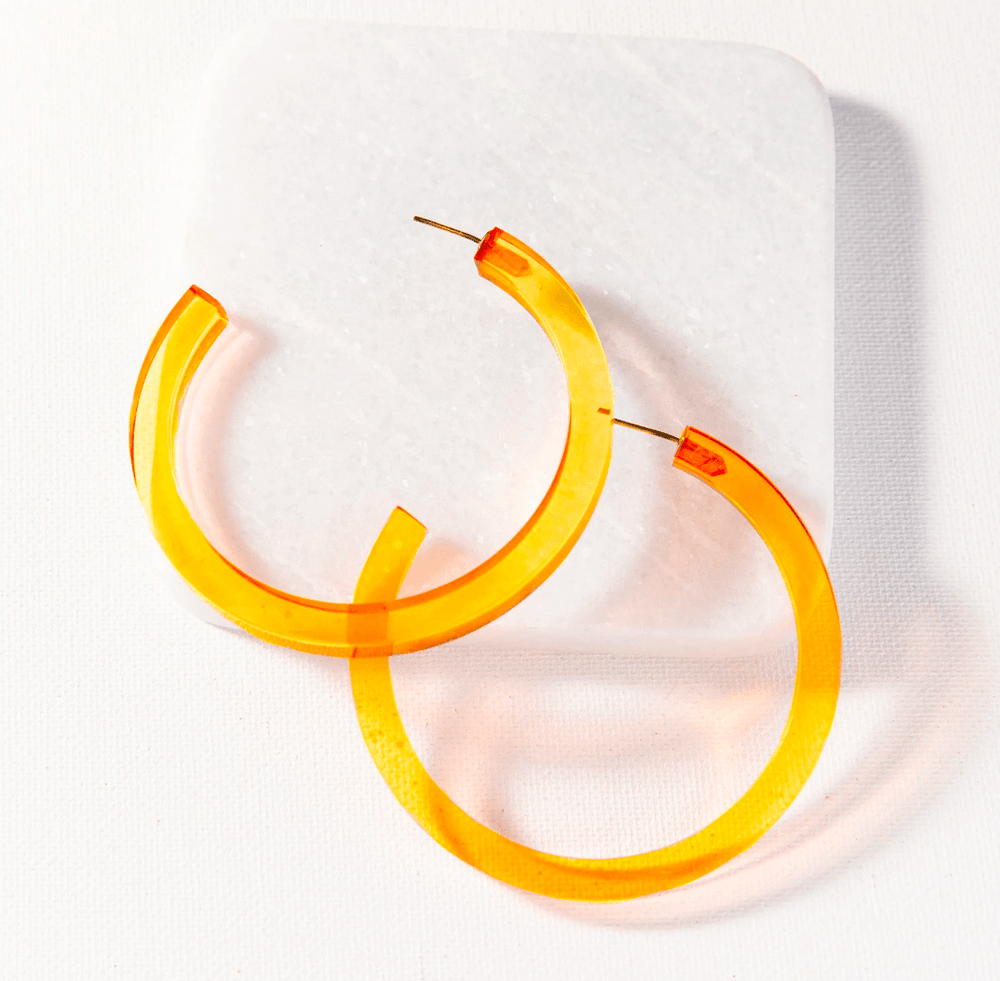 Load image into Gallery viewer, Ink + Alloy - Lucite Small Hoop - Amber