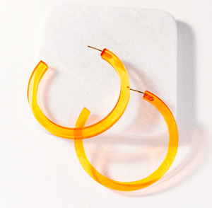 Ink + Alloy - Lucite Small Hoop - Amber