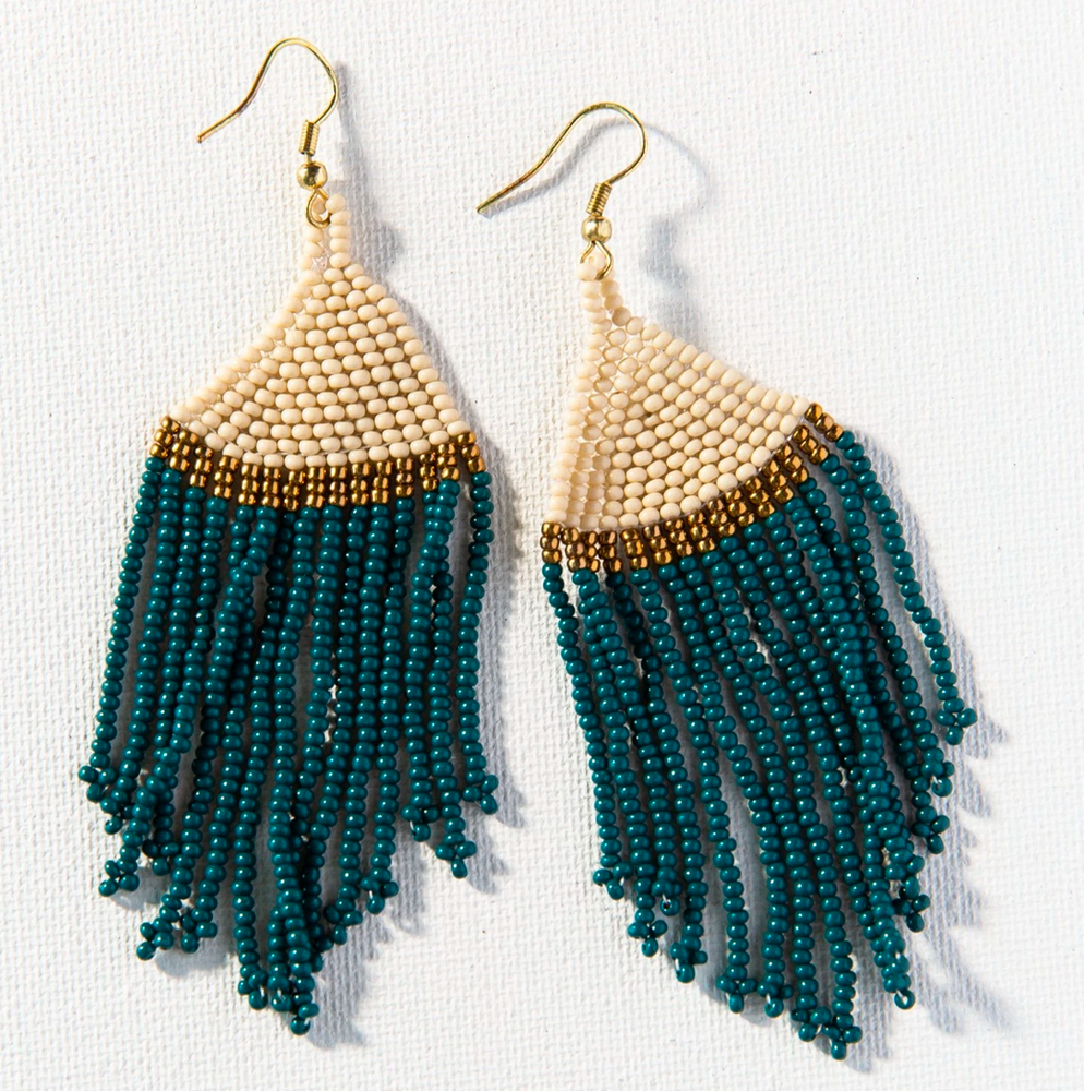 Load image into Gallery viewer, Ink + Alloy - Stripe Seed Bead Earring - Peacock