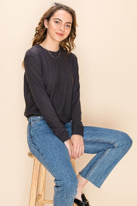 Stella V Stitch Sweater - Charcoal