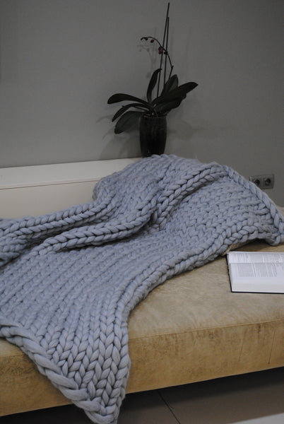 - Chunky Knit blanket 40*60'' 100% Merino Wool - Nata Home and Fashion - 2