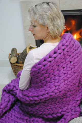 - Chunky blanket 40*80'' 100% Merino Wool - Nata Home and Fashion - 1