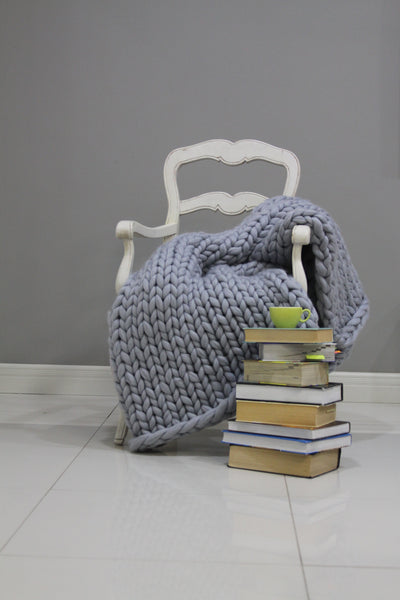 - Chunky Knit blanket 40*60'' 100% Merino Wool - Nata Home and Fashion - 1