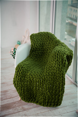- Chunky Throw Blanket  40*80'' 100% Merino Wool - Nata Home and Fashion - 1