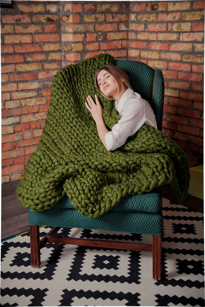 - Chunky Throw Blanket  40*80'' 100% Merino Wool - Nata Home and Fashion - 3