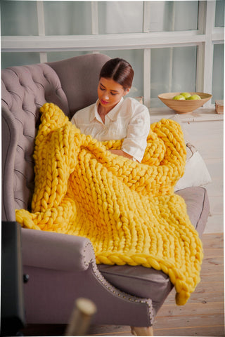 - Chunky Knit Blanket for home decor  50*70'' 100% Merino Wool - Nata Home and Fashion - 1