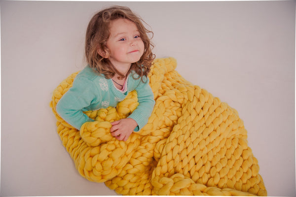 - Chunky Knit Blanket for home decor  50*70'' 100% Merino Wool - Nata Home and Fashion - 2