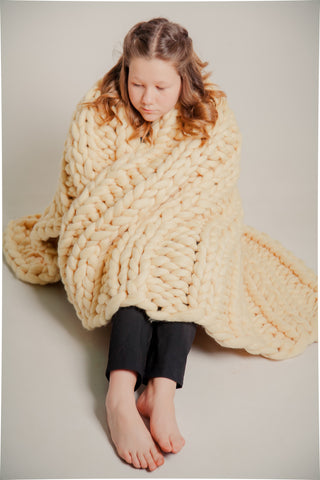 - Double-sided Bulky Throw Chunky Blanket 30*55'' 100% Merino Wool - Nata Home and Fashion - 1