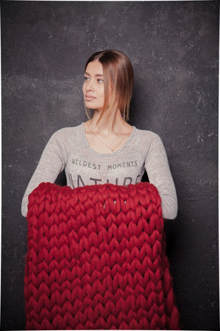 - Wool Chunky Knit blanket 40*60'', 100% Merino Wool - Nata Home and Fashion - 1
