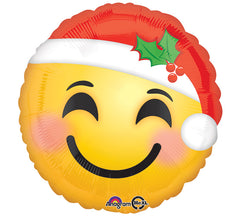 "17"" Santa Emoticon Emoji Mylar Balloon- 6 Pack"