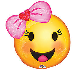 "18"" Pink Baby Emoticon Emoji Mylar Balloon- 6 Pack"