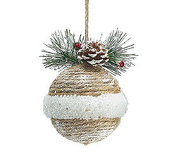 Jute and Pine Ornaments- Set of 6