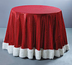 Round Red Sequined Faux Fur Trimmed Tablecloth