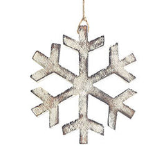 Large Wooden Snowflake Ornaments, Set of 12