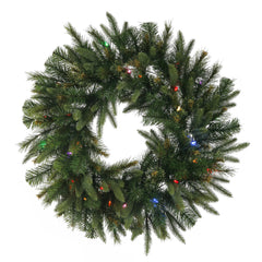 "Vickerman 30"" Cashmere Artificial Christmas Wreath with 30 Multi-Colored Battery Operated LED Lights"