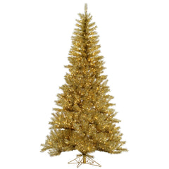 Vickerman 9' Gold-Silver Tinsel Artificial Christmas Tree with 1000 Clear Lights