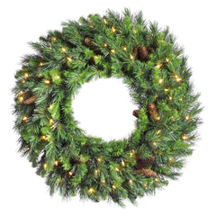 "Vickerman 42"" Cheyenne Pine Artificial Christmas Wreath with 100 Warm White LED Lights"
