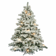 Vickerman 6.5' Flocked Alaskan Pine Artificial Christmas Tree with 600 Clear G50 Lights