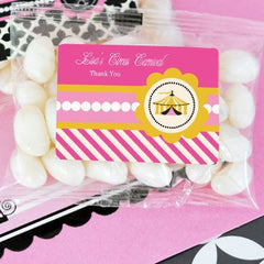 Pink Circus Party Personalized Jelly Bean Packs