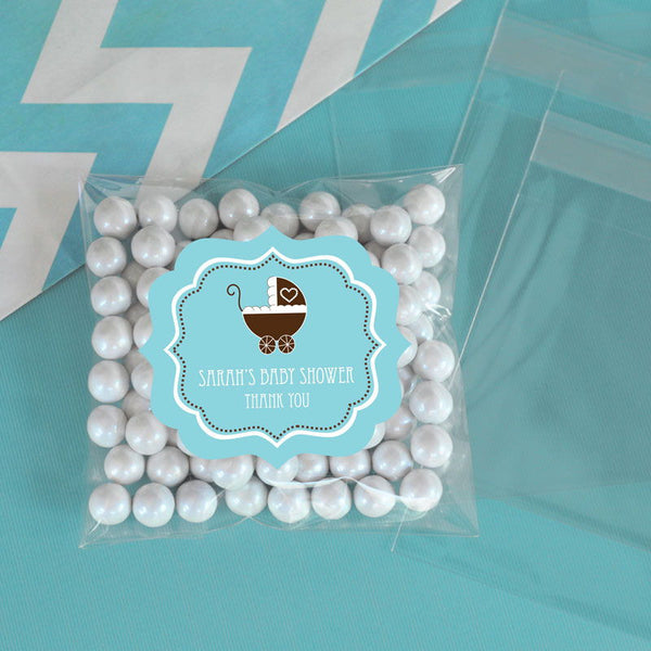 Personalized Blue Baby Shower Clear Candy Bags (Set of 24)
