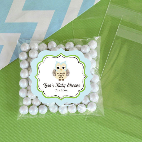 Personalized Blue Owl Clear Candy Bags (Set of 24)