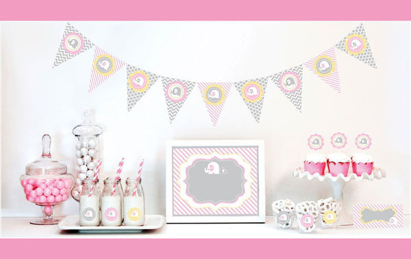 Pink Elephant Decorations Party Kit