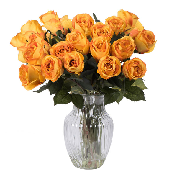 "Vickerman 16"" Rose Arrrangement with 24 Orange Roses in Glass Vase."