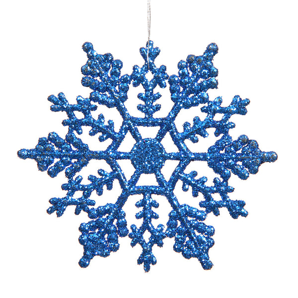 "Vickerman 4"" Blue Glitter Snowflake Christmas Ornament, 24 per Box"