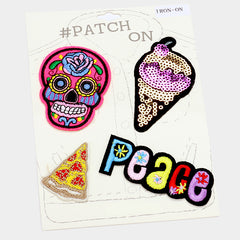 Skull, Ice Scream, Pizza & Peace 4 Pc Iron on Patch Set