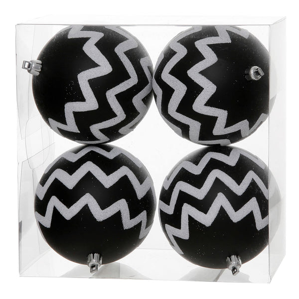"Vickerman 4"" Black Matte with White Glitter Chevron Ball Christmas Ornament, 4 per Box"
