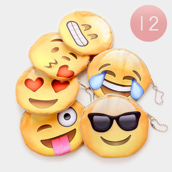 Emoji Coin Purse Keyring- Package of 12
