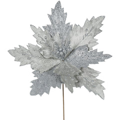 "Vickerman 22"" Pewter Poinsettia Artificial Christmas Flower, 6 per Bag"