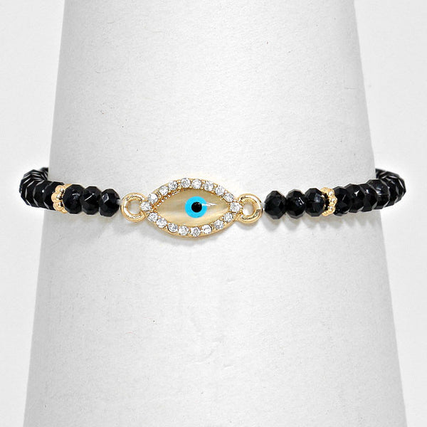 Rhinestone Accent Evil Eye Black Beaded Stretch Bracelet