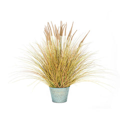 "Vickerman 34"" Artificial Brown Dogtail Green Grass Bush in a Metal Pot"