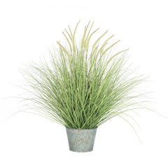 "Vickerman 39"" Artificial Green Dogtail Green Grass Bush in a Metal Pot"