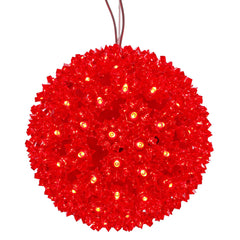 "Vickerman 7.5"" Starlight Sphere Christmas Ornament with 100 Red Wide Angle LED Lights"