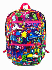 Strawberry Scented Awesomesauce Print Backpack- Pink Trim