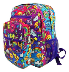 Strawberry Scented Awesomesauce Print Backpack- Purple Trim